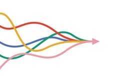 arrow formed by multiple merging colourful lines on white background. Partnership, merger, alliance and integration concept. Flat design. Vector illustration, no transparency, no gradients