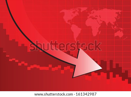 Arrow graph going down on red background (Vector illustration)