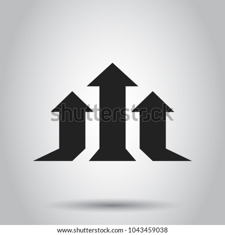 Arrow growing graph vector icon. Progress arrow grow sign illustration. Business concept simple flat pictogram on isolated background.