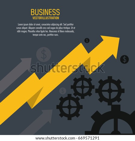 Arrow growth gears business icon. Vector graphic