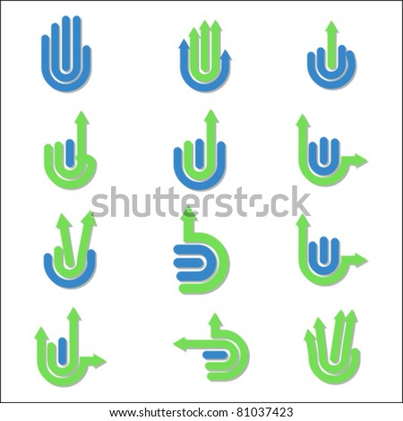 arrow Hand Gestures and signals -set of vector icons for your design