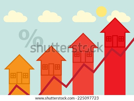 Arrow heads, symbolizing rising property, finance, tax or mortgage rates.