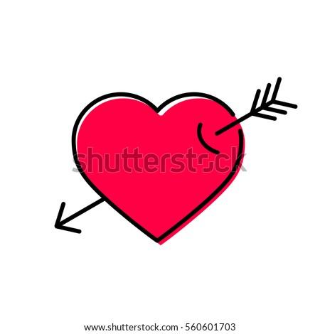 arrow heart icon love sign