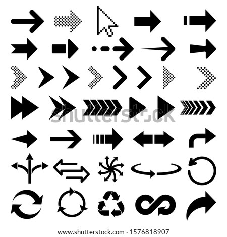 Arrow icon. Big set of vector flat arrows. Collection of concept arrows isolated on white background. Vector illustration. Eps 10.