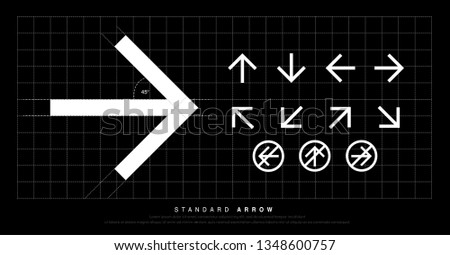 Arrow icon modern standard sign. Arrows design for Web, Signage, Symbol, Icon and Pictogram corporate identity. vector illustration