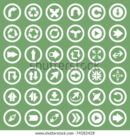 Arrow icon set. Compass, direction, recycle, next and move symbol.