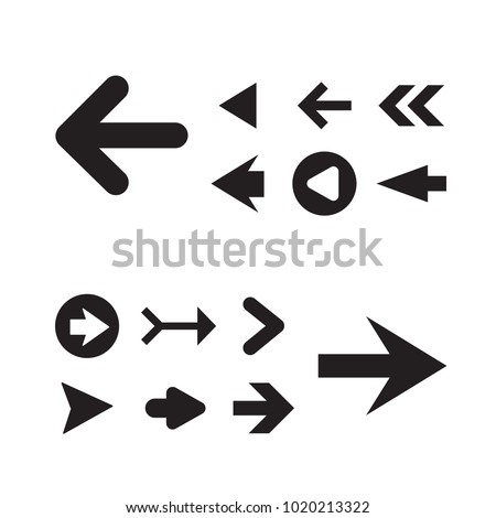 Arrow icon set isolated on white background. Trendy collection of different arrow icons in flat style for web site. Creative arrow template for app, ui and logo, vector illustration eps 10