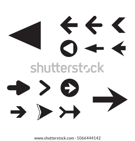 Arrow icon set isolated on white background. Trendy collection of different arrow icons in flat style for web site. Cretive arrow template for app, ui and logo, vector illustration eps 10 #1066444142