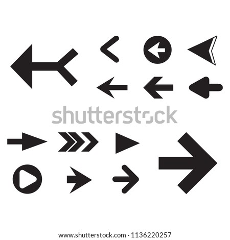 Arrow icon set isolated on white background. Trendy collection of different arrow icons in flat style for web site. Cretive arrow template for app, ui and logo, vector illustration eps 10 #1136220257
