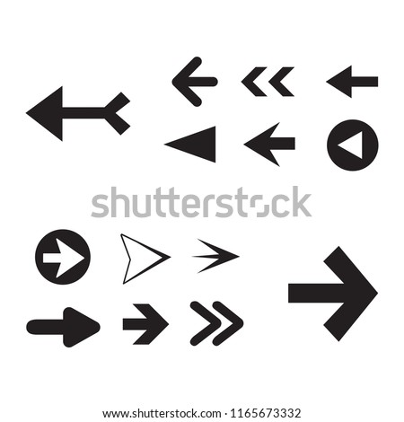 Arrow icon set isolated on white background. Trendy collection of different arrow icons in flat style for web site. Creative arrow template for app, ui and logo. Vector illustration, eps 10 #1165673332