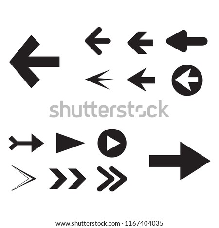 Arrow icon set isolated on white background. Trendy collection of different arrow icons in flat style for web site. Creative arrow template for app, ui and logo. Vector illustration, eps 10 #1167404035