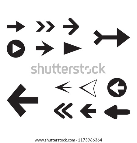 Arrow icon set isolated on white background. Trendy collection of different arrow icons in flat style for web site. Creative arrow template for app, ui and logo. Vector illustration, eps 10 #1173966364