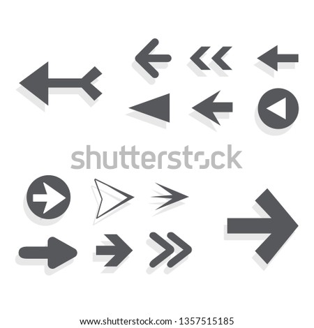 Arrow icon set isolated on white background. Trendy collection of different arrow icons in flat style for web site. Creative arrows right and left template for app, ui and logo. Vector illustration #1357515185