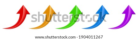 Arrow icon. Set of up arrows. Vector illustration. Glossy arrows isolated on white background