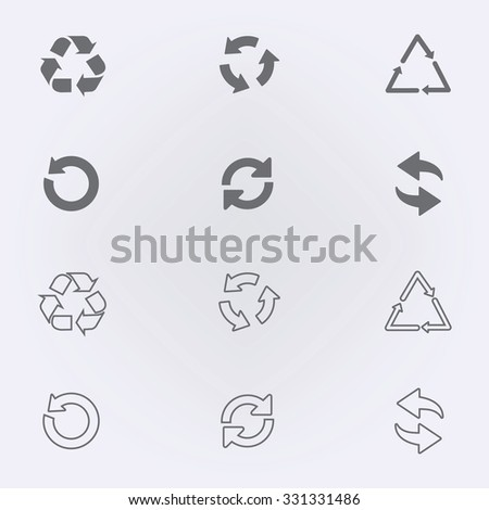 Arrow icon set or recycle symbol . Vector illustration