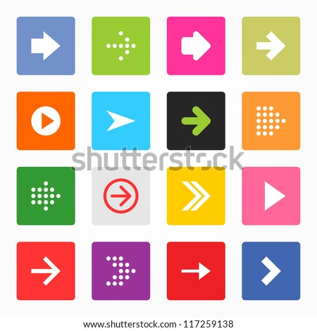 Arrow icon set popular color web sign. Simple rounded square shape internet button on gray background. Contemporary modern style for site or blog. Vector illustration internet design elements 8 eps