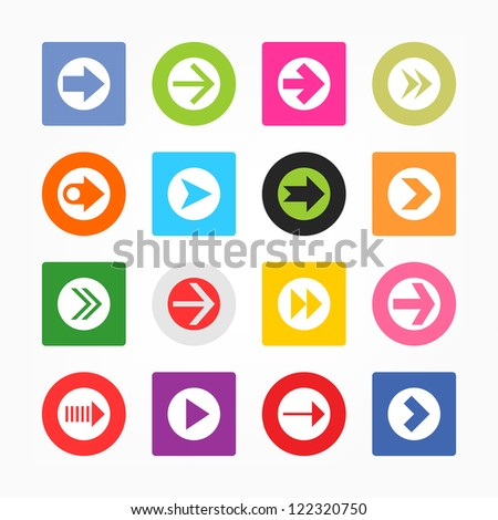 Arrow icon set sign in white circle. Simple circle and rounded square internet button gray background. Solid plain monochrome color flat tile metro style. Vector illustration web design elements 8 eps