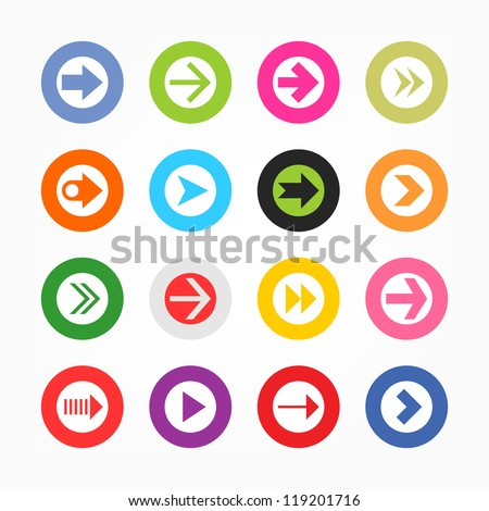 Arrow icon set sign in white circle. Simple circle internet button gray background. Solid plain monochrome color flat tile. Minimal modern metro style. Vector illustration web design elements 8 eps