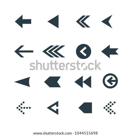 Arrow icon set. Web arrow pictogram design. Internet elements symbols. Navigation previous right and left signs. #1044515698