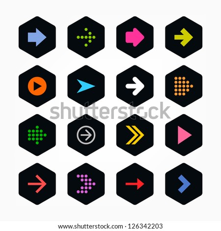 Arrow icon sign set. Color on black. Simple rounded hexagon internet button. Solid plain monochrome color flat tile. New minimal contemporary metro style. Vector illustration web design elements 8 eps