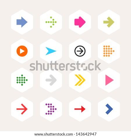 Arrow icon sign set. Simple rounded hexagon internet button beige background. Solid plain monochrome color flat tile. Minimal contemporary metro style. Vector illustration web design elements 8 eps #143642947