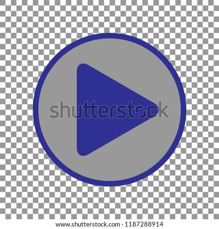 arrow icon, vector illustration. Blue arrow in grey circle