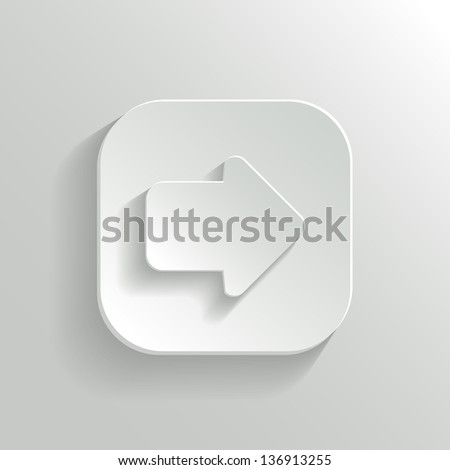Arrow icon - vector white app button with shadow