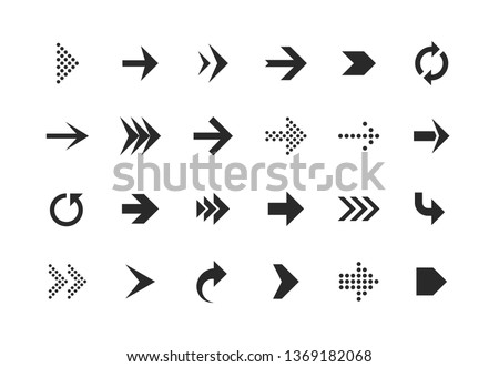 Arrow icons. Arrows set up pointer right curve down direction left cursor button label next page web interface, flat vector navigation symbol