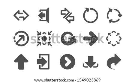 Arrow icons. Download, Synchronize and Share. Navigation classic icon set. Quality set. Vector