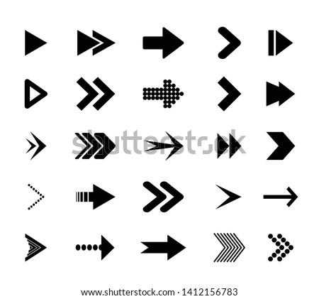 Arrow icons.  Icons cursor button label next page web interface. Flat vector navigation symbol.