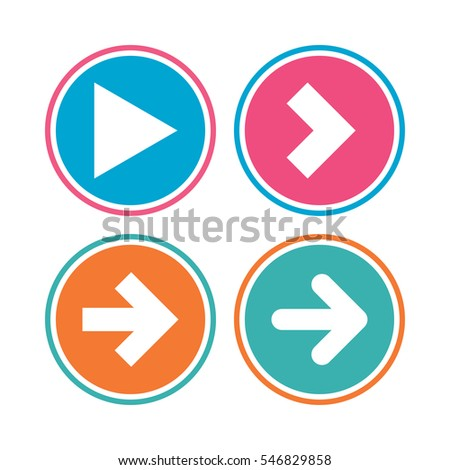 Arrow icons. Next navigation arrowhead signs. Direction symbols. Colored circle buttons. Vector