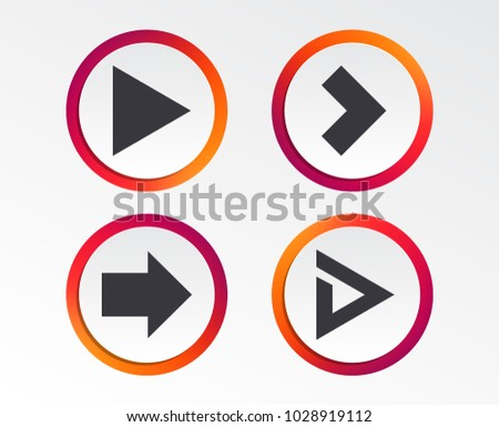 Arrow icons. Next navigation arrowhead signs. Direction symbols. Infographic design buttons. Circle templates. Vector