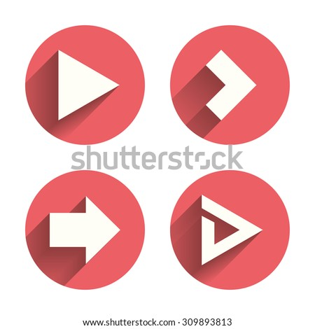 Arrow icons. Next navigation arrowhead signs. Direction symbols. Pink circles flat buttons with shadow. Vector #309893813