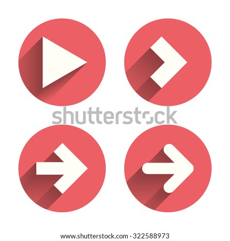 Arrow icons. Next navigation arrowhead signs. Direction symbols. Pink circles flat buttons with shadow. Vector