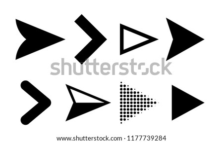 Arrow icons or vector pointers logo for web navigation design elements