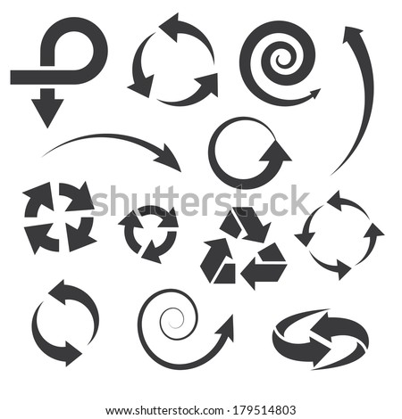 arrow icons set collections. black symbols isolated on white background. vector illustration