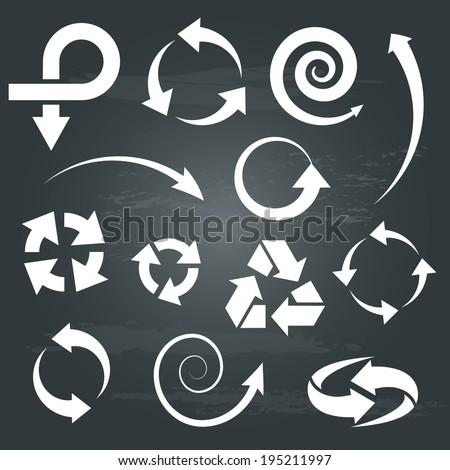 arrow icons set collections. white symbols isolated on chalkboard  background. vector illustration.