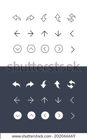 Arrow Icons set for tool bar in flat and line style