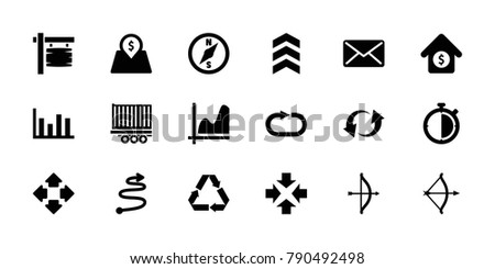 Arrow icons. set of 18 editable filled arrow icons: move, graph, bow, chart, update, reload replay, mail, house sale, lot price, stopwatch, compass, direction board, recycle