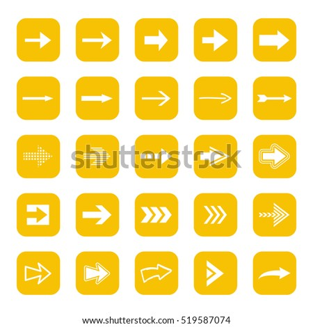 Arrow icons set - vector illustration. Square shape concept, internet button isolated on white background, graphic design. Collection of modern color style for website, app, web page and interface