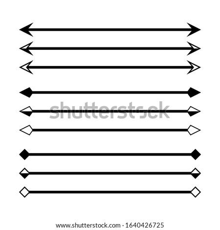 arrow in horizontal line set