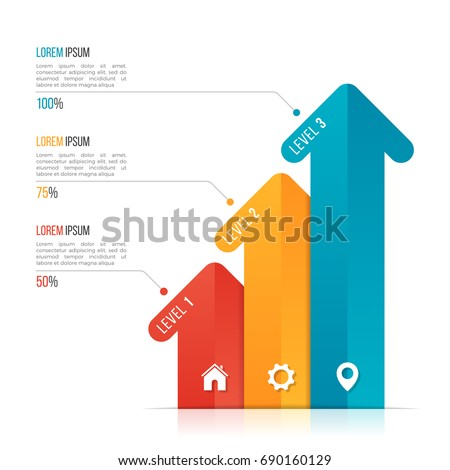 Arrow infographic template for data visualization. 3 options, levels, steps. Vector illustration.