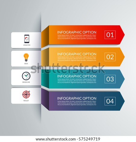 Arrow infographic template. 4 options, steps, parts, pieces. Vector banner with marketing icons and design elements. Can be used for workflow layout, diagram, chart, graph, report.