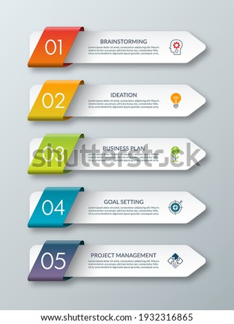 Arrow infographic template. 5 steps. Origami style. Vector banner.