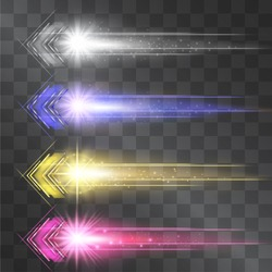 Arrow laser glow vector illumination set. Motion effect light blinking on transparent background. Speedy energy stream for modern hi tech. Techno neon flow of fast particles, space shine trail.
