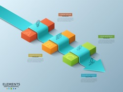 Arrow laying across 3 colorful isometric blocks, thin line icons and text boxes. Concept of business problems solving, obstacles overcoming. Modern infographic design template. Vector illustration.