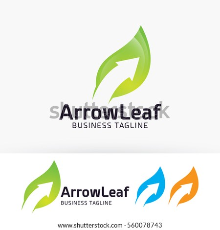 Arrow Leaf, finance, arrow, nature, symbol. Vector logo template