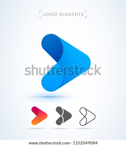 Arrow logo template. Vector abstract material design, flat and line style