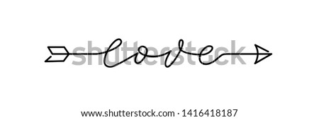 Arrow Love script word hand drawn lettering. Modern calligraphy Design for print on shirt, poster, banner. Graphic Printed tee. Black text on white background. Vector illustration Stock photo ©