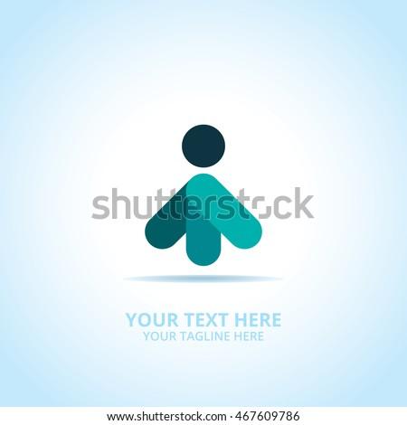 Arrow man abstract emblem, design concept, logo, logotype element for template.